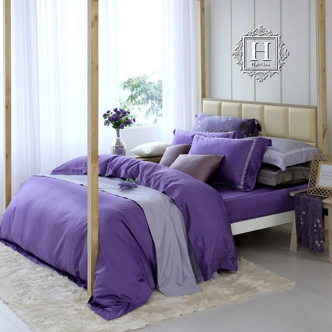 HOYA 極致優棉-幻想紫500織匹馬棉被套床包組-特大+加大被