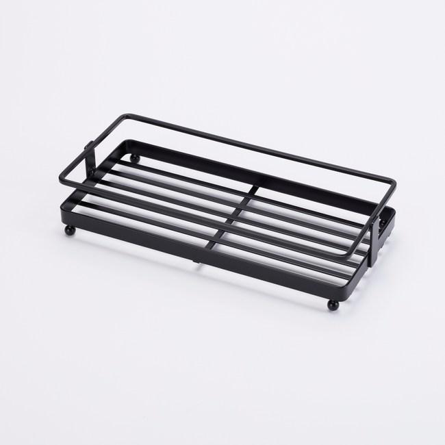 扁鐵單層長方形置物架-黑
