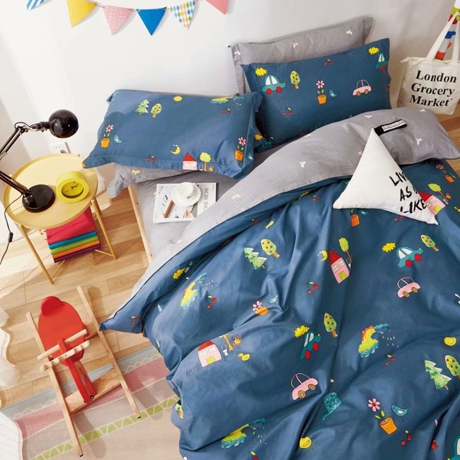 【eyah】100%寬幅精梳純棉單人床包雙人被套三件組-深藍繽紛彩漾