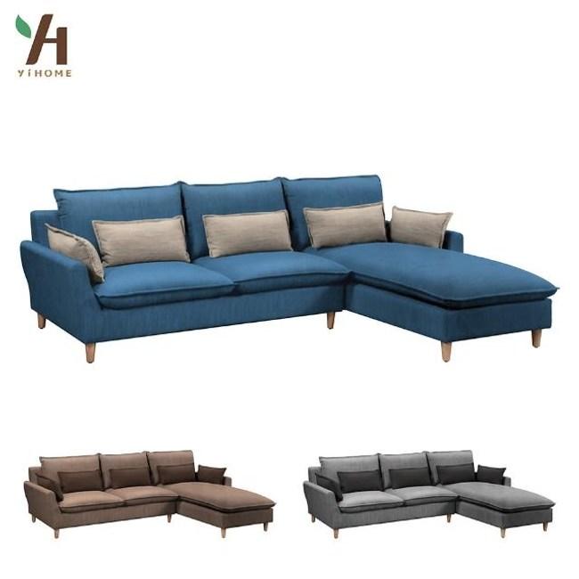 【伊本家居】芬蘭 全羽毛布L型沙發(3色可選) 面右海洋藍 7114