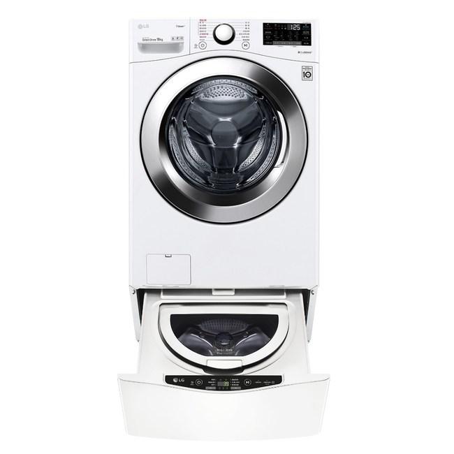 LG樂金19公斤滾筒蒸洗脫+2.5公斤溫水下層洗衣機WD-S19VBW+WT-D250HW