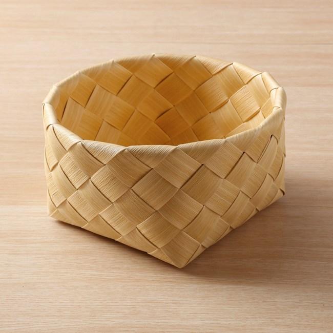 北歐木紋圓型編織籃W24 奶油色