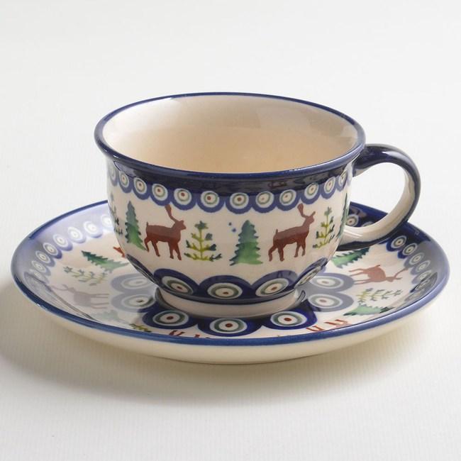 波蘭陶 歡樂聖誕系列 花茶杯盤組 220 ml 波蘭手工製