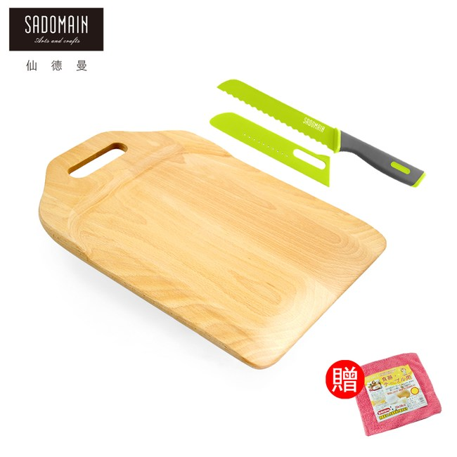 【仙德曼】山毛櫸蔬果砧板+鮮彩輕便水果刀33x23x2