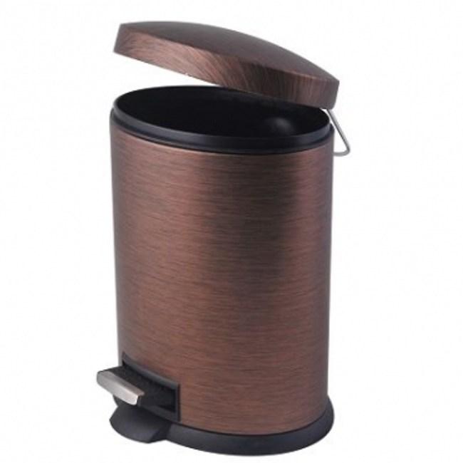 雅典仿木紋橢圓踏式垃圾桶 5L