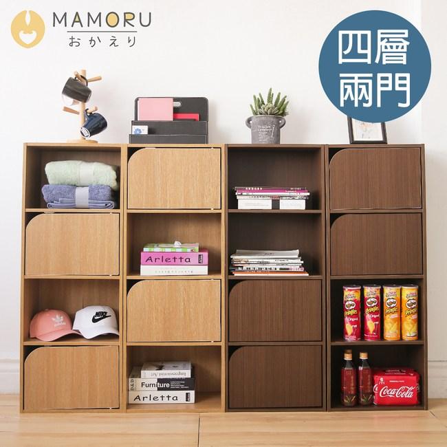 《MAMORU》日式簡約風木紋兩門四層收納櫃(置物櫃 四層櫃 書櫃)橡木色