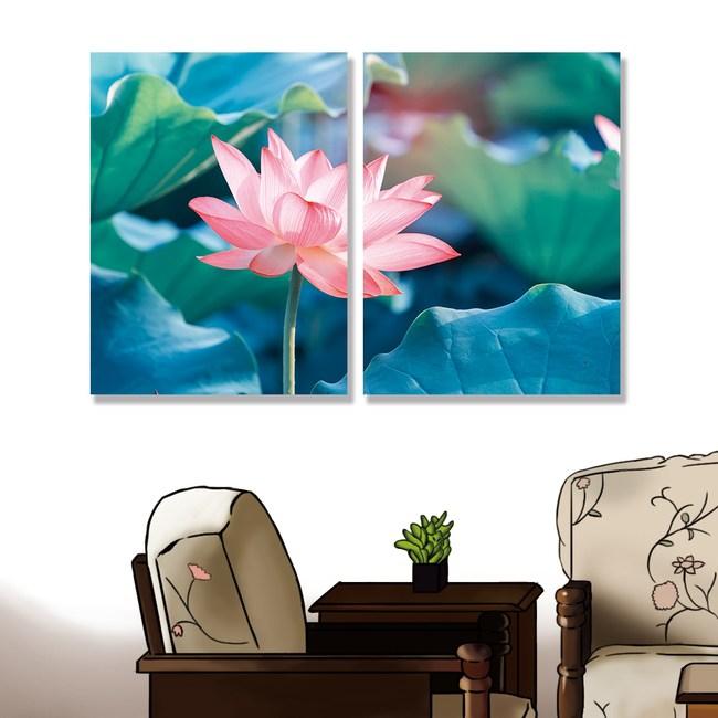 【24mama 掛畫】單聯式油畫布無框畫 80x60cm-蓮花與荷葉油畫布無時鐘蓮花與荷葉