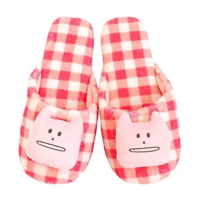 CRAFTHOLIC 宇宙人 多汁草莓格紋貓室內拖鞋(加大)