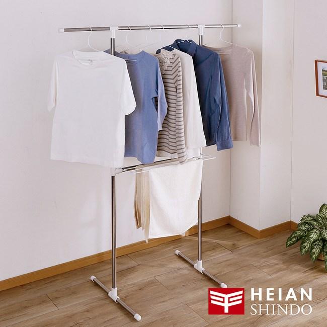 日本【平安伸銅 】免工具T型不銹鋼伸縮桿室內曬衣/被架 SMH-3