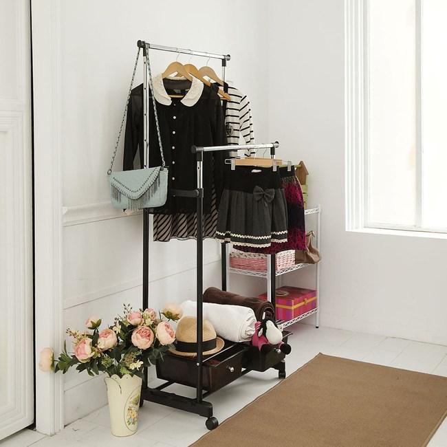 【ikloo】移動式雙桿抽屜收納衣架/衣桿
