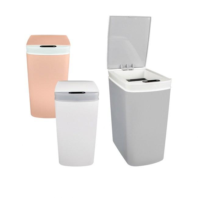 紅外線+觸碰 智能雙感應自動掀蓋 窄型垃圾桶(10L)粉紅