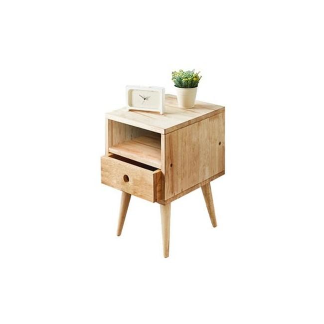 實木簡約自然木紋床頭櫃
