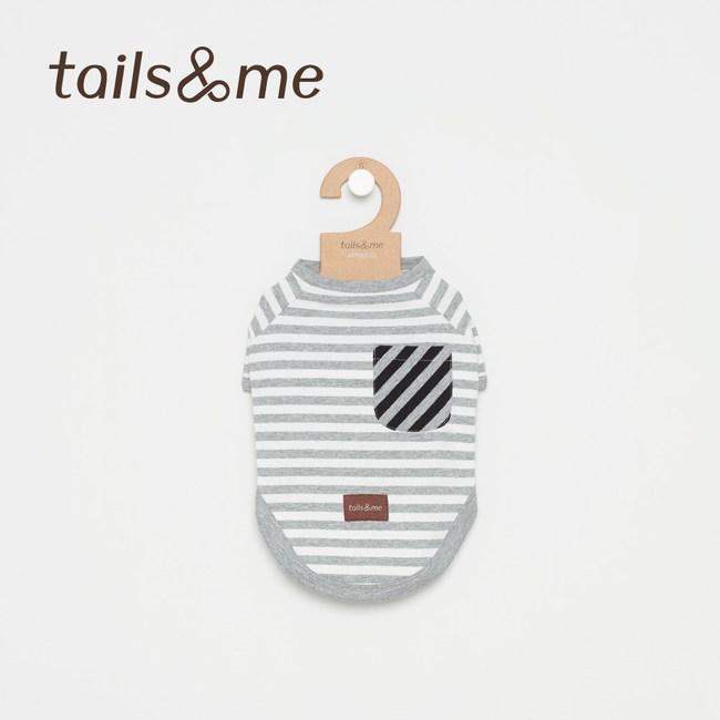 Tails&Me 尾巴與我-條紋半開襟上衣(M)灰