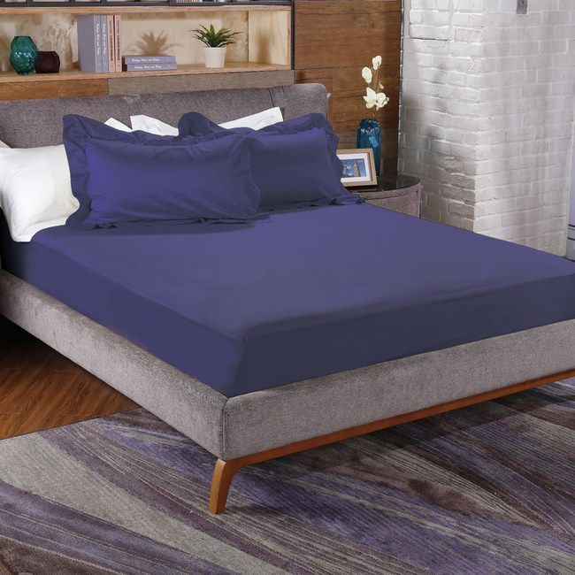 HOLA 托斯卡素色純棉床包加大深海藍