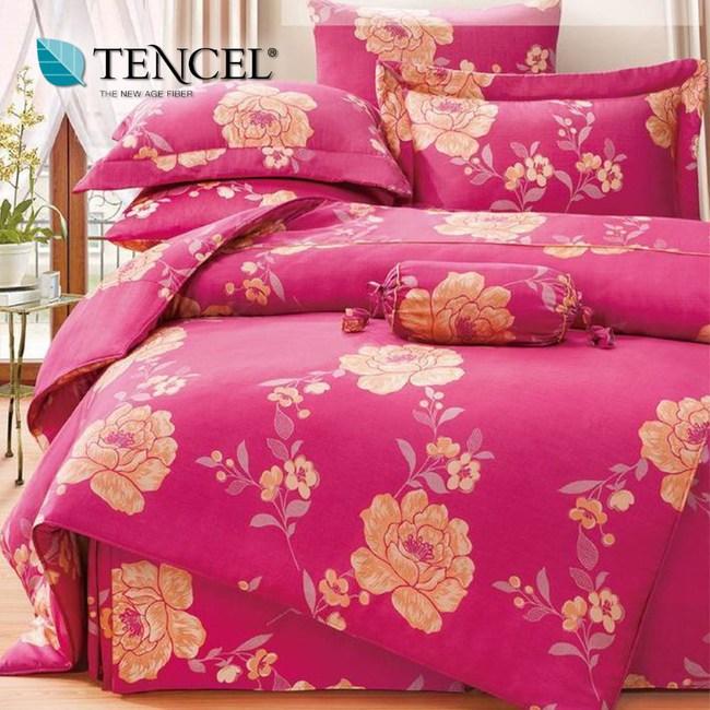 【貝兒居家寢飾生活館】頂級100%天絲床罩鋪棉兩用被七件組(雙人特大/花開)