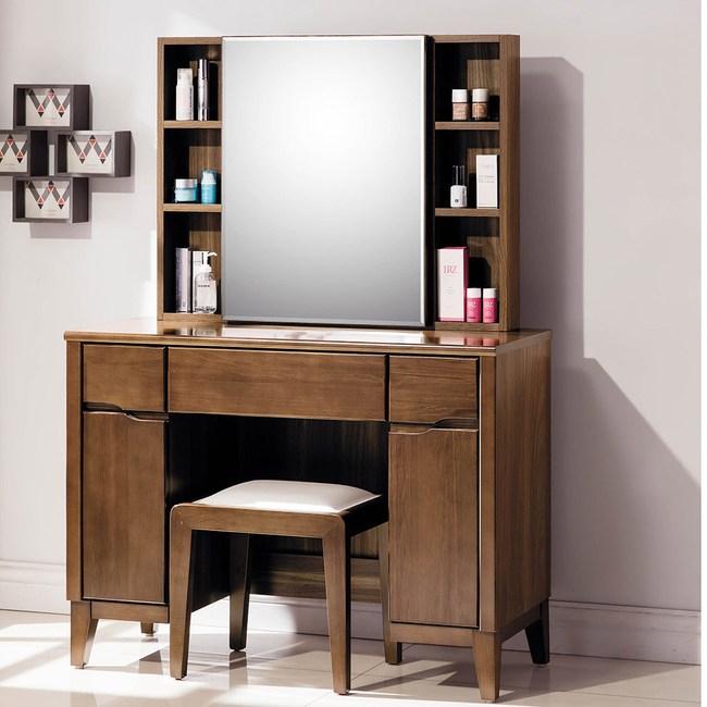 【obis】淺胡桃3.3尺鏡台-含椅(淺胡桃色 3.3尺 鏡台 含椅)淺胡桃色
