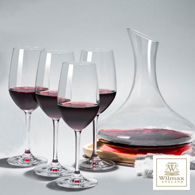 【英國WILMAX】歐式玻璃無柄斜口醒酒壺/分酒器贈日本進口紅酒杯4入