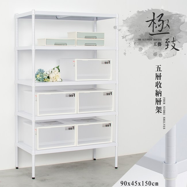 【dayneeds】極致工藝90x45x150公分五層烤白鐵板層架