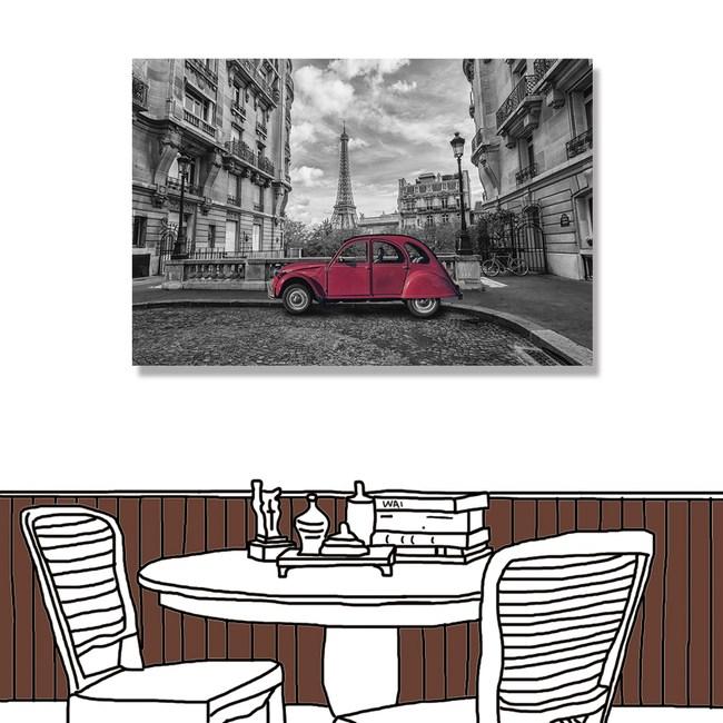 【24mama 掛畫】單聯式 鑽石膜 無框畫 60X40cm-復古巴黎