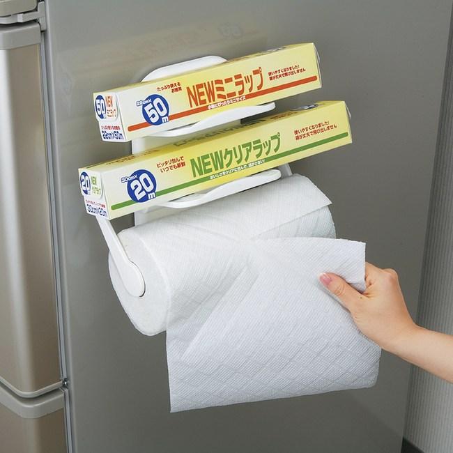 日本LEC磁吸式雙層保潔膜紙巾架
