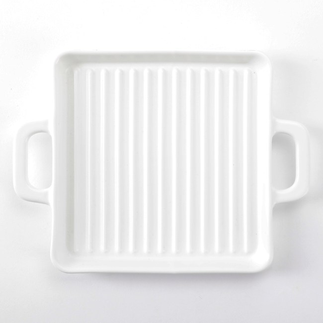 HOLA 陶瓷雙耳方型盤 21cm 白