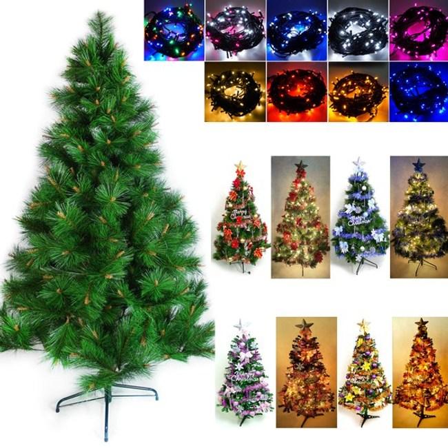 5尺綠松針葉聖誕樹+飾品組+LED燈100燈2串紅金色系+彩色光