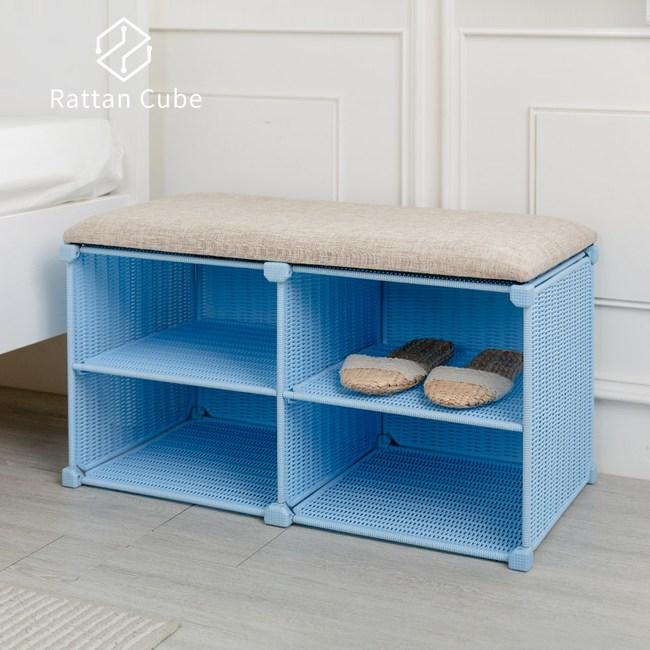 【藤立方】組合穿鞋椅(附2片層板)-粉藍色-DIY