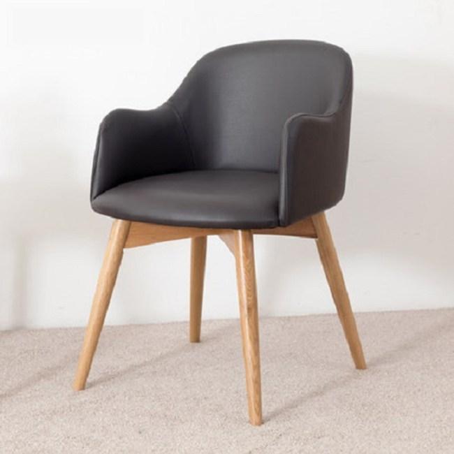 原木日式和風白橡木實木圓弧靠背PU坐面扶手餐椅