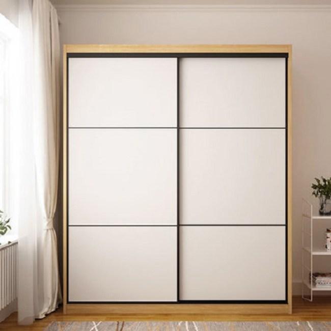 林氏木業北歐簡約原木色滑門組合衣櫃EN1D