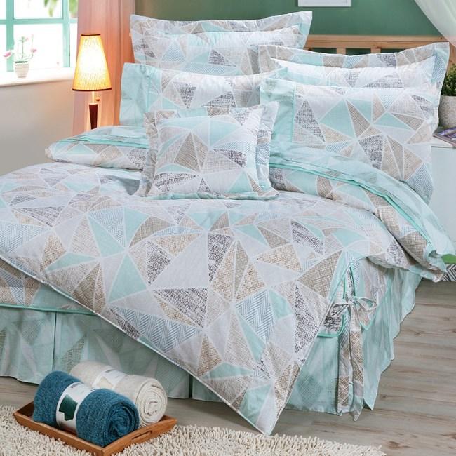 【FITNESS】精梳純棉雙人七件式床罩組-霓虹鏡(綠)