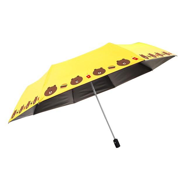 【LINE FRIENDS】授權黑膠自動開收傘-小頭款(6款任選)黃色熊大