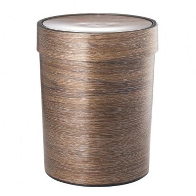 木紋搖蓋垃圾桶7L