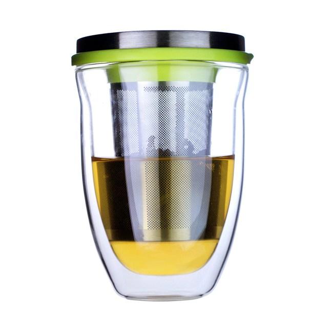 iLoveGlass 雙層玻璃泡茶濾網蓋組 300ml