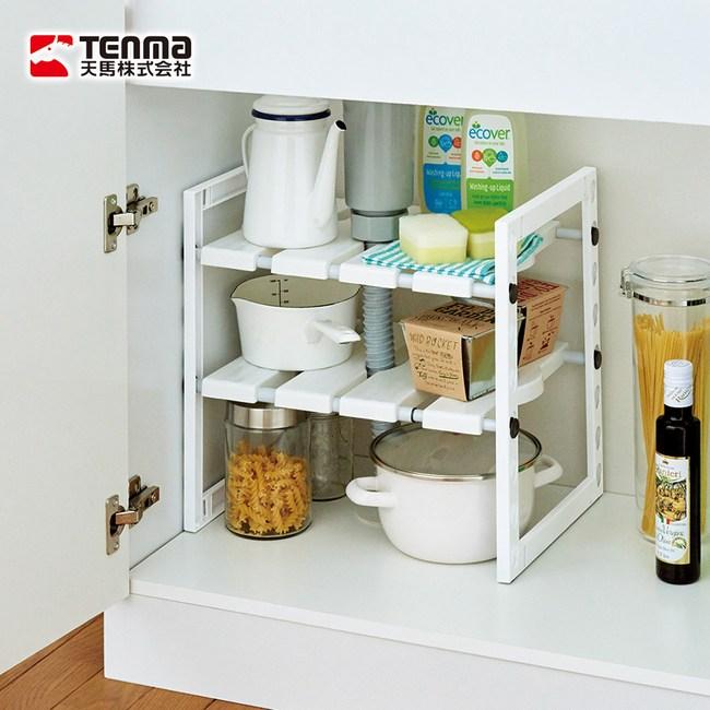 【日本天馬】廚下水槽伸縮式收納層架單一規格