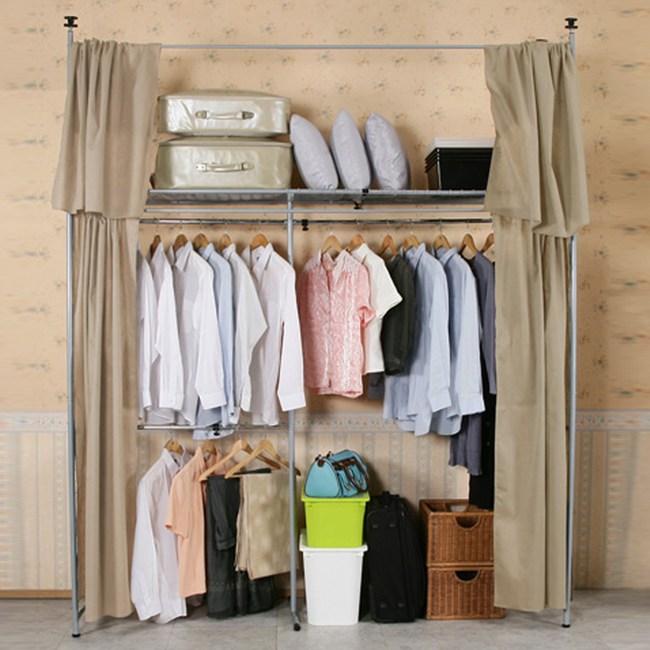 《C&B》衣世家一般型日式頂天立地伸縮衣櫥-棕色