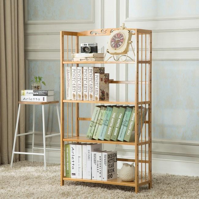 竹藝竹製簡約落地書架 四層