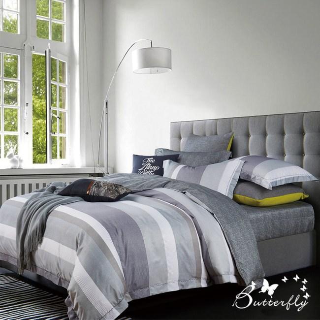 【BUTTERFLY】MIT-3M專利+頂級天絲-雙人薄床包枕套組-都市密碼