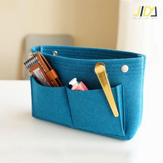 【佶之屋】韓版毛氈加厚手提收納包中袋-基本款(天藍色)