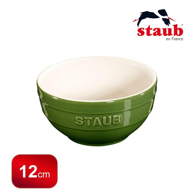 【法國Staub】圓型陶碗12cm-羅勒綠