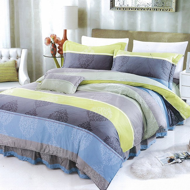【Victoria】新科技天絲抗菌吸濕排汗五件式雙人床罩組-簡約5*6.2