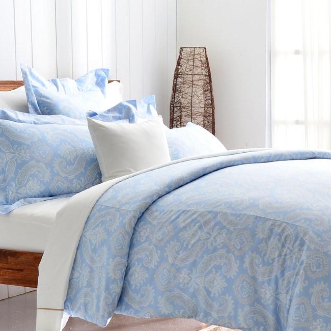 【Cozy inn】湛青-淺藍 300織精梳棉四件式被套床包組(加大)