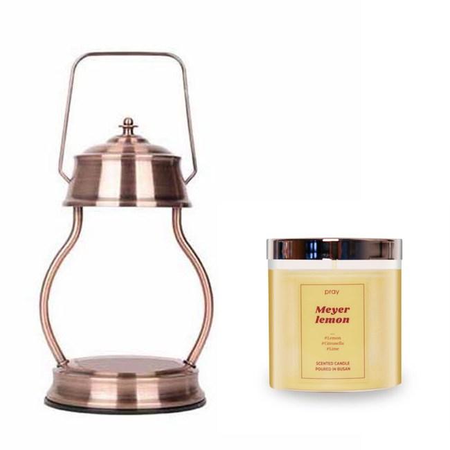 (組)EPOCHSIA x Pray 守夜人金屬香氛蠟燭暖燈(L)-紅棕銅+梅爾