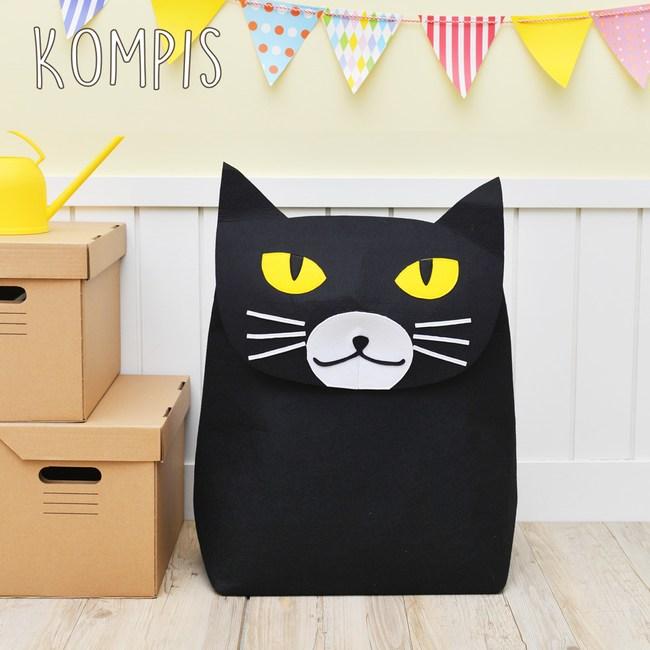 日本KOMPIS 北歐風可愛動物玩具收納箱-貓咪