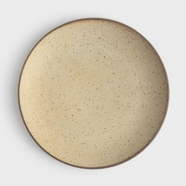 WAGA 日式 柴燒手作22cm陶瓷淺盤-米黃