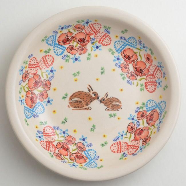 波蘭陶 小兔花園系列 圓形深餐盤 22cm 波蘭手工製