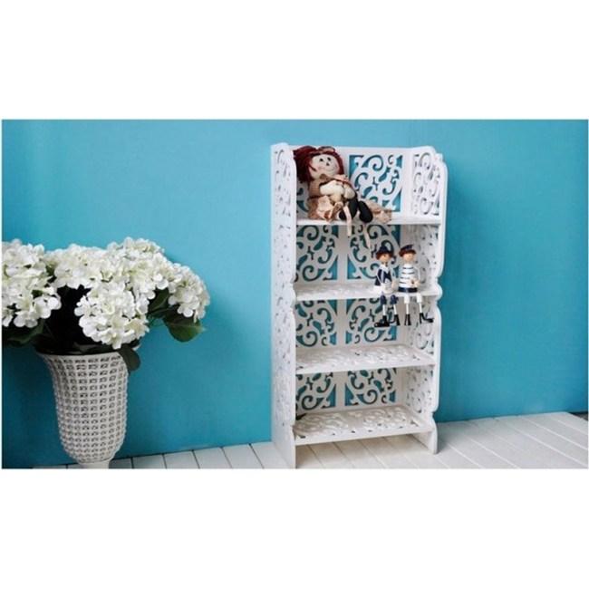 【Osun】DIY木塑板白色雕花四層層架W40(8040)