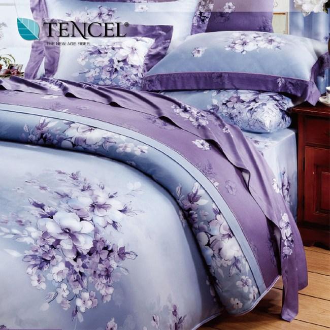 【貝兒居家寢飾生活館】100%天絲全鋪棉床包兩用被四件組(加大雙人/夢想花語)