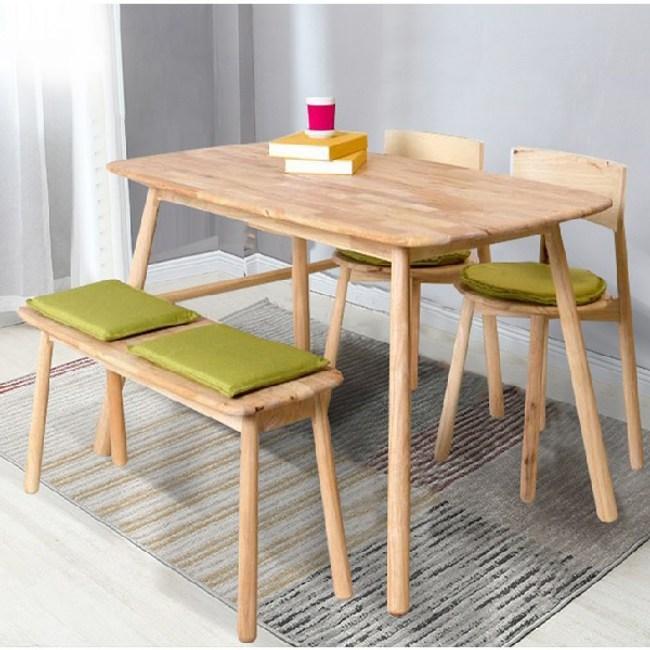 實木北歐簡約棒球餐桌1.2m-原木色