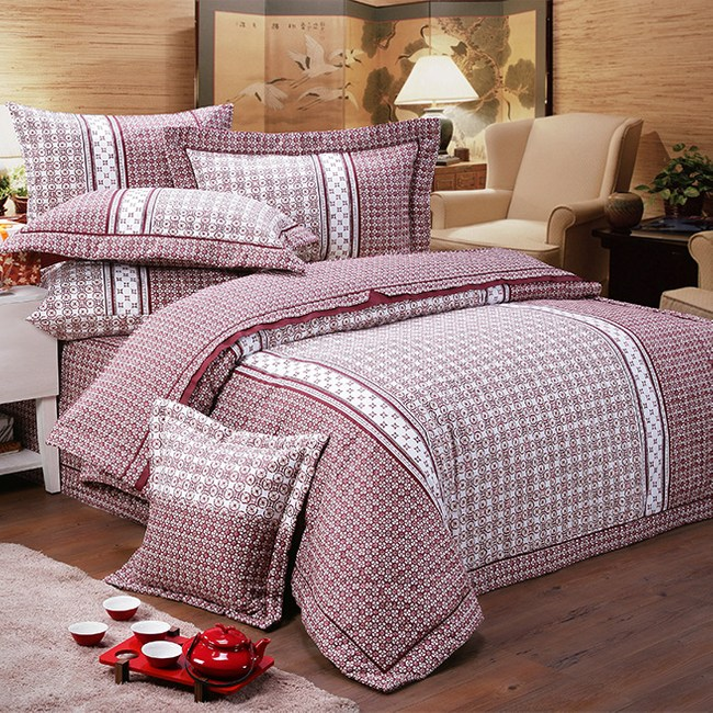 【FITNESS】精梳純棉雙人七件式床罩組-艾斯琴曲(藍紅兩色可供選擇紅色