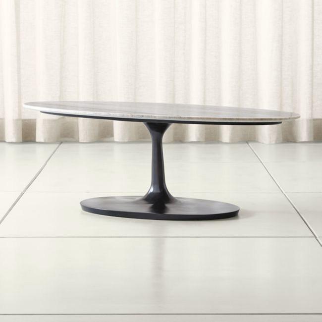 (組)Crate&Barrel Nero 橢圓型咖啡桌 灰